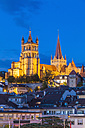 Switzerland, Lausanne, cathedral Notre-Dame at dusk - WDF002898