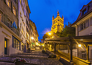 Switzerland, Lausanne, stairs towards cathedral Notre-Dame at dusk - WDF002906