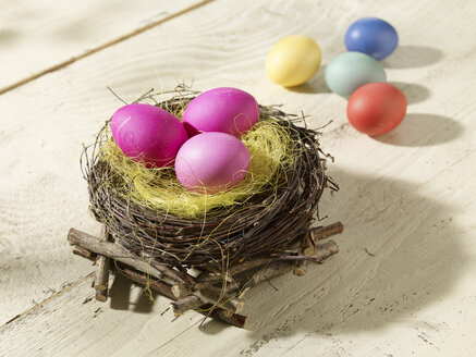 Eastern, Easter nest with coloured eggs - SRSF000567