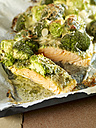 Wild salmon with broccoli and pesto gratinated with parmesan and mozzarella - SRS000548