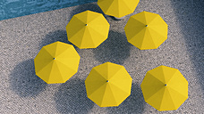 Six yellow sunshades in a courtyard, 3D Rendering - UWF000383