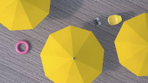 Three yellow sunshades, chair, floating tire and a laptop on wooden terrace, 3D Rendering - UWF000379
