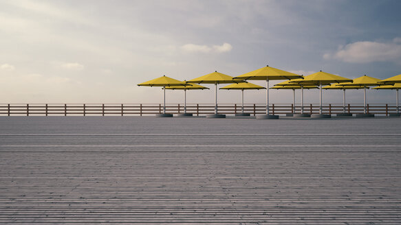 Yellow sunshades on wooden terrace in front of cloudy sky, 3D Rendering - UWF000376
