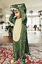 Little boy wearing dinosaur costume at home - MFF001478