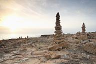 Spain, Mallorca, Ses Salines, Cap de ses Salines, piles of stones - MEMF000714