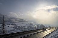 Austria, Tyrol, Wipptal, Brenner Autobahn in winter - MKF000165