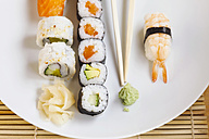 Variety of sushi with wasabi and ginger on plate - JTF000641