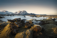 Iceland, Sudurland, landscape at sunset - STCF000082
