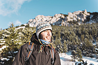 Spain, Cadi-Moixero Natural Park, smiling man in the mountains - GEMF000057