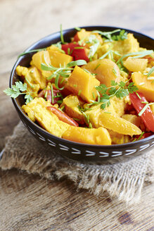 Pumpkin risotto with tofu, apricots, bell pepper and herbs - HAWF000653