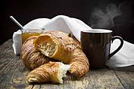 Croissants, fig jam and cup of hot coffee - LVF002898