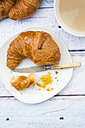French breakfast with croissant, Cafe au lait and fig jam - LVF002902