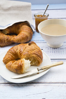 French breakfast with croissant, Cafe au lait and fig jam - LVF002903