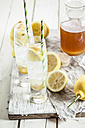 Homemade lemonade with bottle of syrup and lemons - SBDF001695