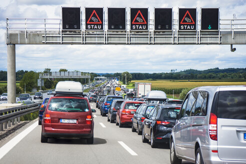 Germany, Bavaria, Traffic jam on A9 highway between Munich and Nuremberg - WEF000327