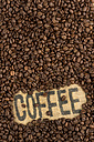 Coffee beans and word 'Coffee' on jute - EJWF000673