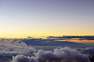 USA, Hawaii, Maui, Haleakala, view from mountain top to Big Island in morning light - BRF001031