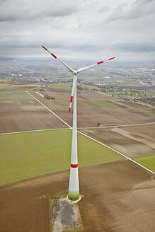 Southern Germany, aerial view of wind turbine - KDF000686