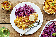 Braised red cabbage fennel and apple,  sweet potato parsnip mash with Tempeh fillets - HAWF000681