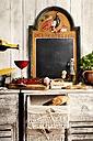Italian Food, sideboard with typical ingredients, spaghetti, tomato, red wine - CSTF000883