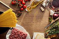 Italian Food, ingredients for Spaghetti Bolognese on wood - CSTF000884