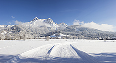 Austria, Salzburg State, Saalfelden, Steinerenes Meer, winter landscape, cross-country ski-tracks in snow - DISF001405