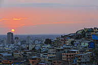 South America, Ecuador, Guayas Province,  Guayaquil, Las Penas, Cerro Santa Ana, City view at sunset - FOF007719