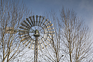 Germany, Ruhr area, Duisburg, reflection of a wind turbine at a former smeltery - WI001523