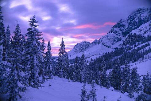 Austria, Hochkoenig, Muehlbach, winter landscape at sunset - STCF000099