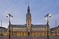 Germany, Hamburg, City Hall at evening - RJF000399