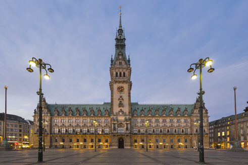 Germany, Hamburg, City Hall at evening - RJF000399