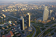 Turkey, Istanbul, view over the financial district and the Bosphorus from Sapphire of Istanbul - LHF000429