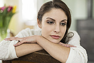Portrait of brunette young woman at home - SHKF000276
