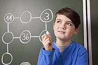 Schoolboy at blackboard with arithmetic problem - MFRF000081