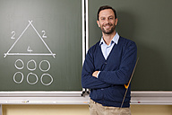 Smiling teacher in classroom teaching geometry - MFRF000087