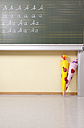 Variations of letter A at blackboard and sugar cones in classroom - MFRF000090