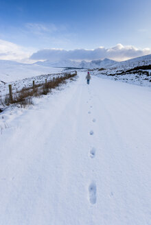 Great Britain, Scotland, Isle of Skye, Footprints in snow - SMAF000374