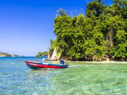 Caribbean, Greater Antilles, Jamaica, Portland Parish, Port Antonio, Pellew Island, boat - AM003871