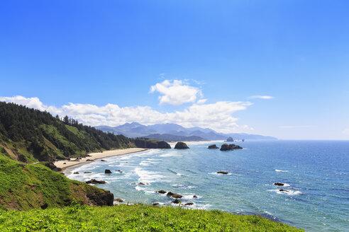 USA, Oregon, Oregon State Park, Ecola State Park, View to beach - FOF007789