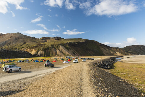 Iceland, view to camping ground with Landmannalaugar in the background - NHF001472