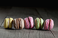 Row of five different macarons - CSF024795