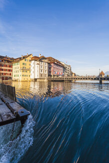 Switzerland, Canton of Lucerne, Lucerne, Old town, Reuss river, Bridge and needle dam - WDF002966