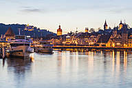 Switzerland, Canton of Lucerne, Lucerne, Lake Lucerne, Excursion ships at pier in the evening - WDF002972