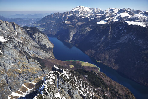 Germany, Bavaria, Aerial view of Alps with lake Koenigssee - KDF000690