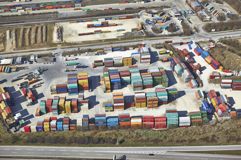 Germany, Bavaria, Aerial view of container storage of carrying business - KD000699
