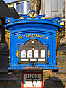 Germany, Hesse, Ruedesheim, old blue mailbox - AM003903