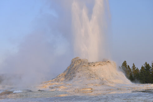 USA, Wyoming, Yellowstone National Park, Castle Geyser erupting - RUEF001567