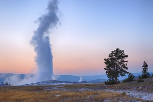 USA, Wyoming, Yellowstone National Park, Old Faithful Geyser erupting at sunset - RUEF001570