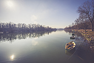 Germany, Landshut, Isar river, Fishing boats - SARF001475