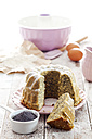 Sliced poppy seed cake and ingredients - CSF024897